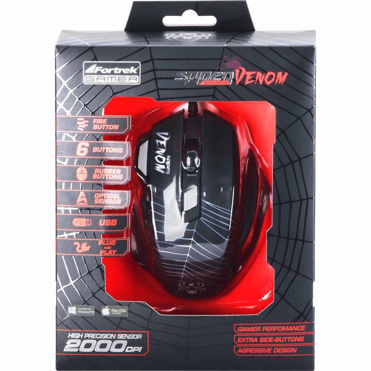 Mouse Gamer SPIDER VENOM OM-704 Preto/Vermelho
