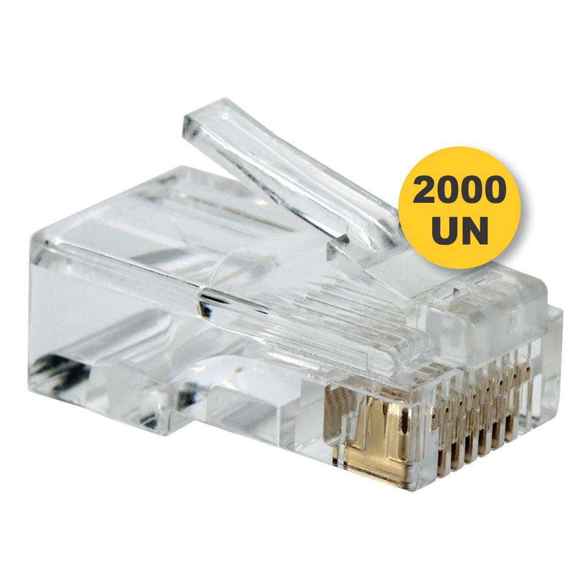 Pacote 2000 Unidades Conector Rj45 Cat5e Cabo Rede Lan Plug
