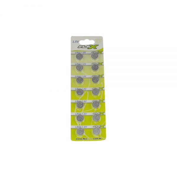 Bateria Botão LR44 Flex 1,5V 120MAH Alacalina (Pack 14 unds)