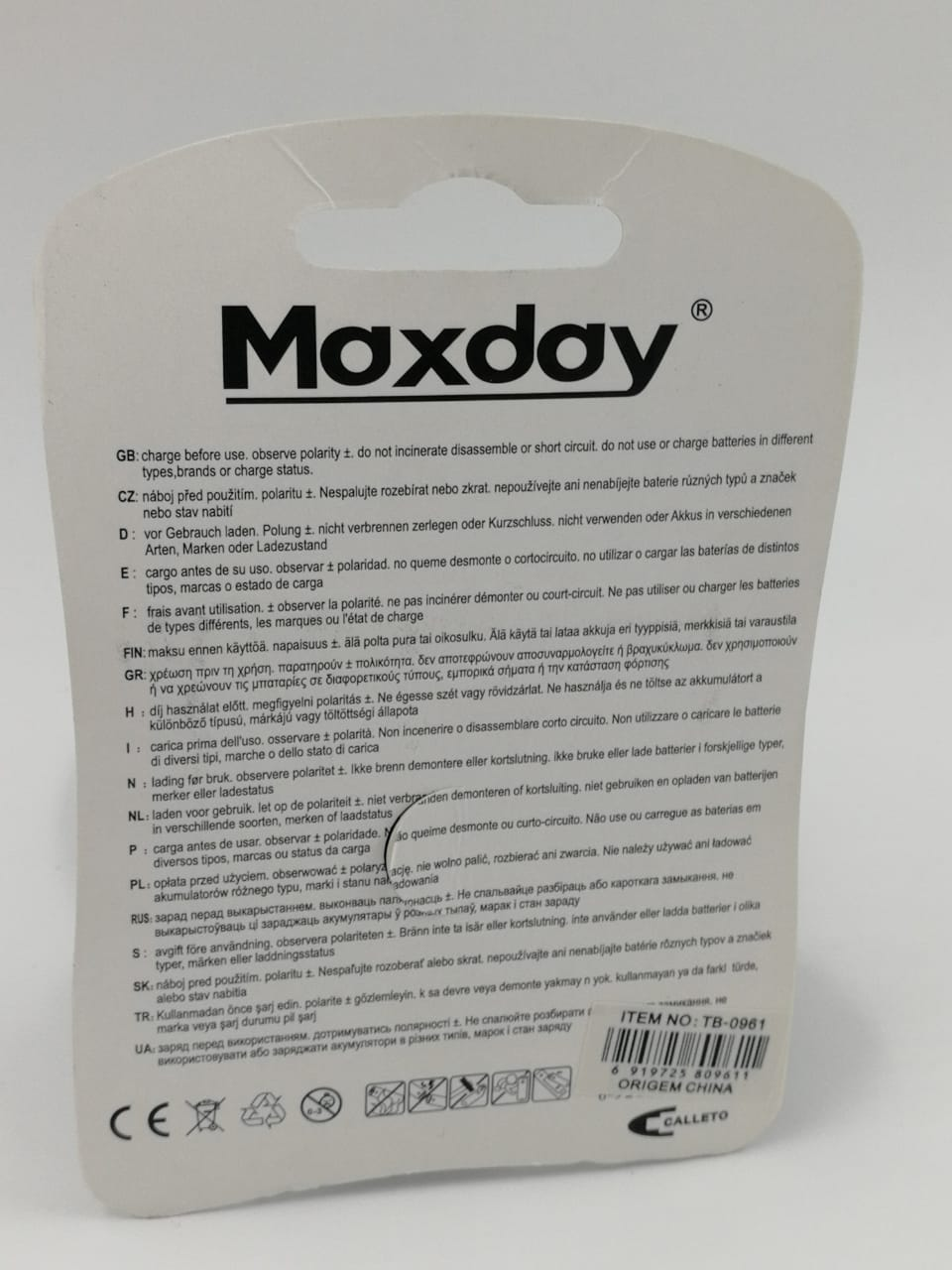 Pilhas AAA Recarregável 4 UNIDADES - Maxday