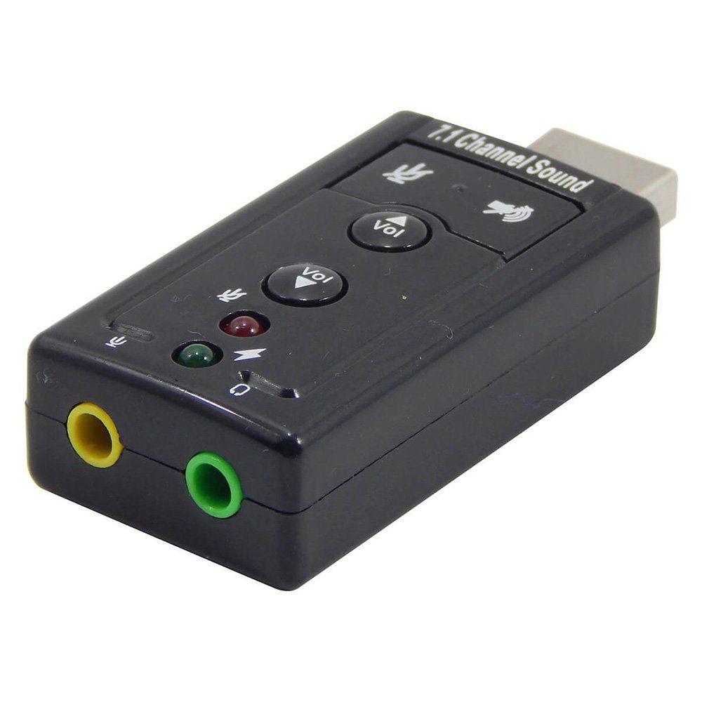 Placa de Som Externa USB 7.1 C/ Controle de Volume