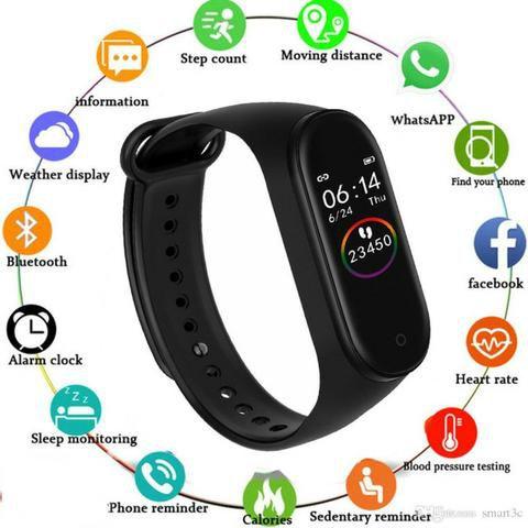 Relógio Medidor Inteligente Tela Colorida Pulso Frequência Cardíaca M4