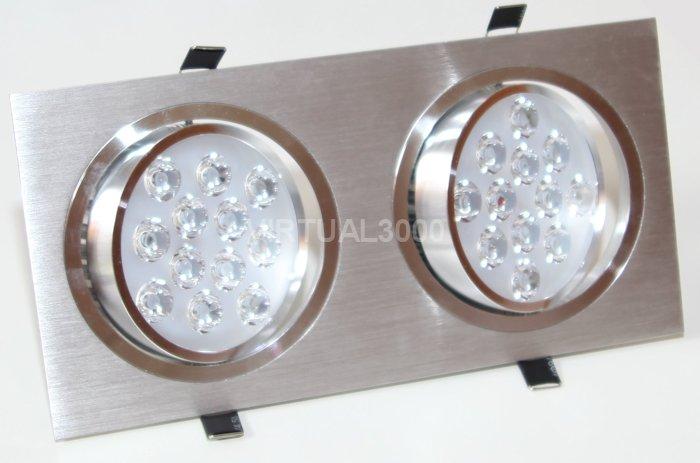 Spot Alumínio Retangular (Duplo 12W) 24W Led Branco Puro