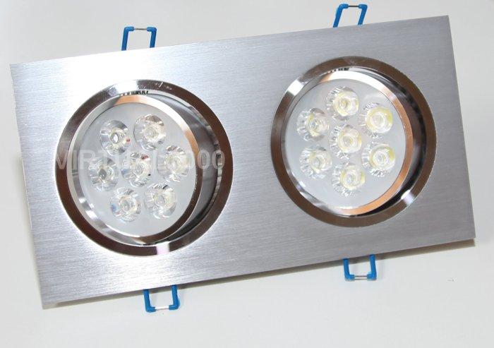 Spot Alumínio Retangular (Duplo 7W) 14W Led Branco Puro