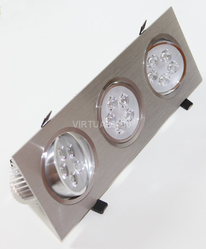 Spot Alumínio Retangular (Triplo 5W) 15W Led Branco Puro