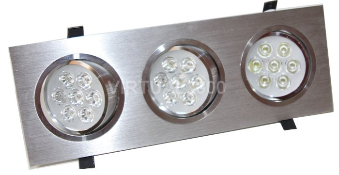 Spot Alumínio Retangular (Triplo 7W) 21W Led Branco Puro