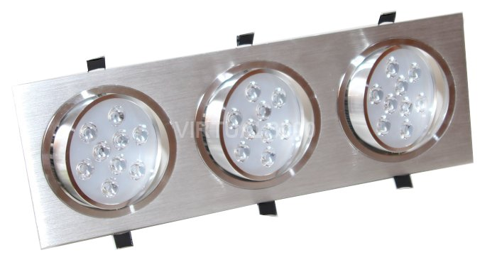 Spot Alumínio Retangular (Triplo 9W) 27W Led Branco Puro