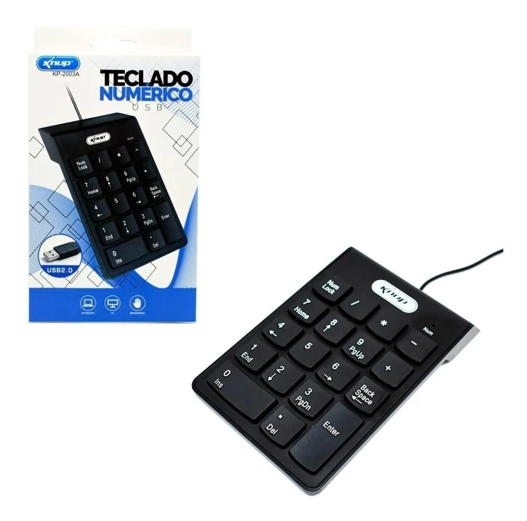 Teclado Numérico USB Knup KP-2003A 18 Teclas Preto