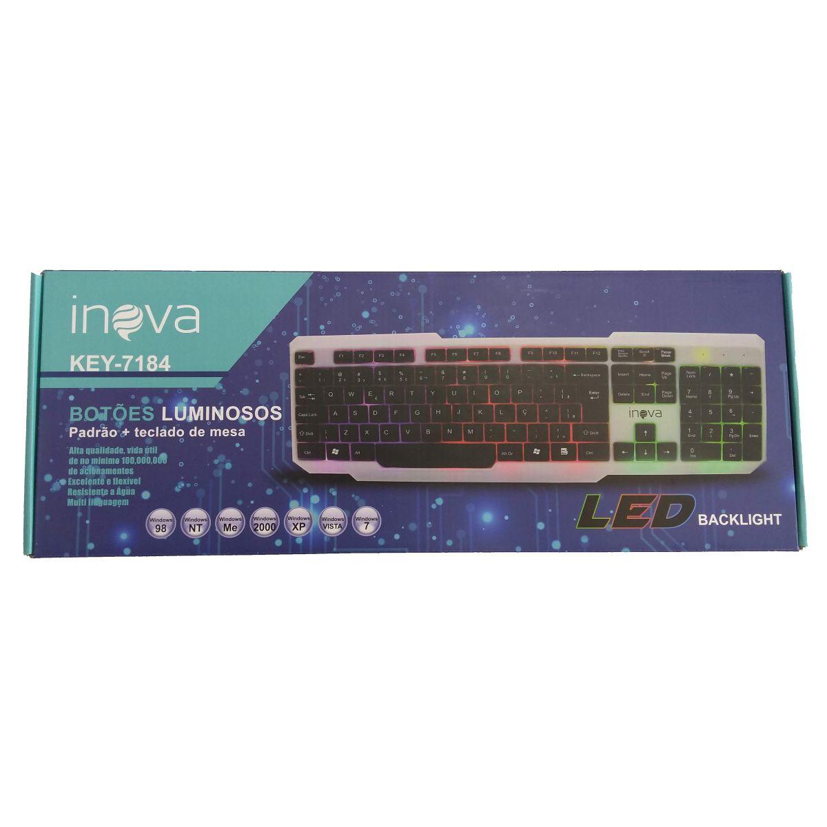 Teclado USB Iluminado Gamer Inova KEY-7184