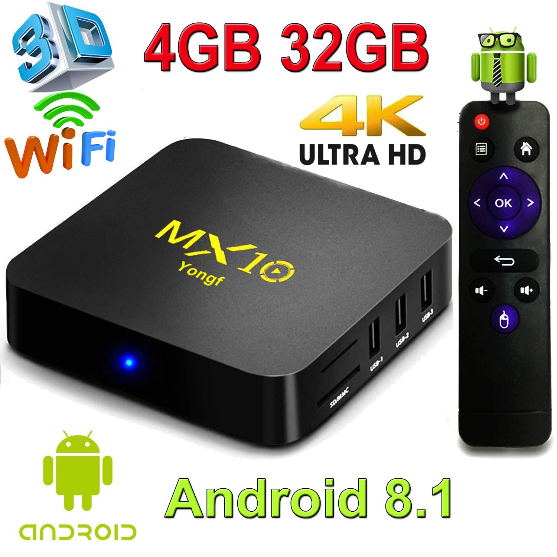 TV Box MX10 4GB RAM 32GB 4K Android c/ Controle