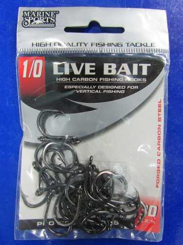 Anzol Live Bait Nº 1/0 Black Nickel - Marine Sports - 30 Peças  - Life Pesca - Sua loja de Pesca, Camping e Lazer