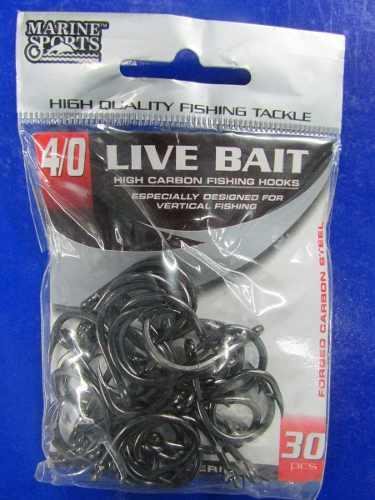 Anzol Live Bait Nº 4/0 Black Nickel - Marine Sports - 30 Peças  - Life Pesca - Sua loja de Pesca, Camping e Lazer