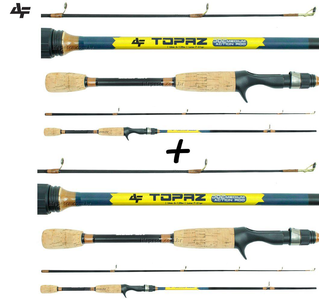 """2 Varas Para Carretilha Albatroz Topaz 5""""6"""" (1,68m) 6-12Lb TPZ562M - 2 Partes  - Life Pesca - Sua loja de Pesca, Camping e Lazer"""