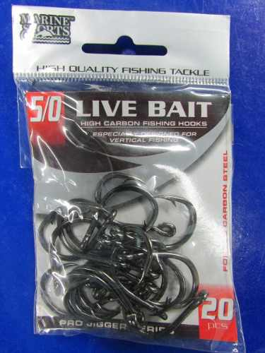 Anzol Live Bait Nº 5/0 Black Nickel - Marine Sports - 20 Peças  - Life Pesca - Sua loja de Pesca, Camping e Lazer