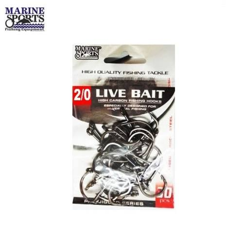 Anzol Live Bait Nº 2/0 Black Nickel - Marine Sports - 30 Peças  - Life Pesca - Sua loja de Pesca, Camping e Lazer