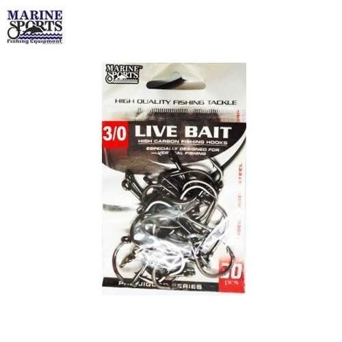 Anzol Live Bait Nº 3/0 Black Nickel - Marine Sports - 30 Peças  - Life Pesca - Sua loja de Pesca, Camping e Lazer