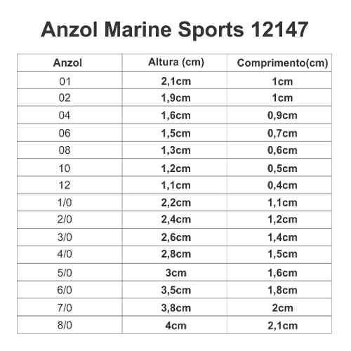 Anzol Marine Sports 12147 Nº 8/0 Nickel - 15 Peças  - Life Pesca - Sua loja de Pesca, Camping e Lazer