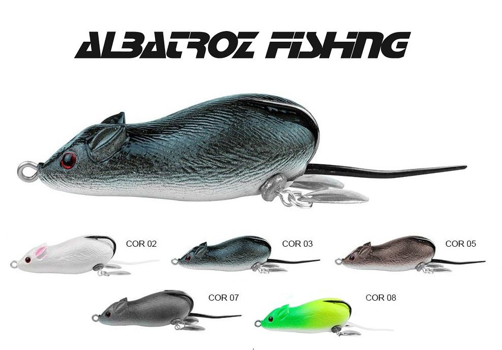 5 Iscas Artificiais Rato Albatroz Top Mouse XY-19 - 6,5cm (20g)