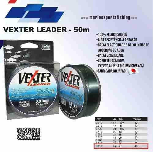 Linha Fluorcarbono Vexter Leader 0,81mm 76,72lb/34,8kg - 50 Metros  - Life Pesca - Sua loja de Pesca, Camping e Lazer