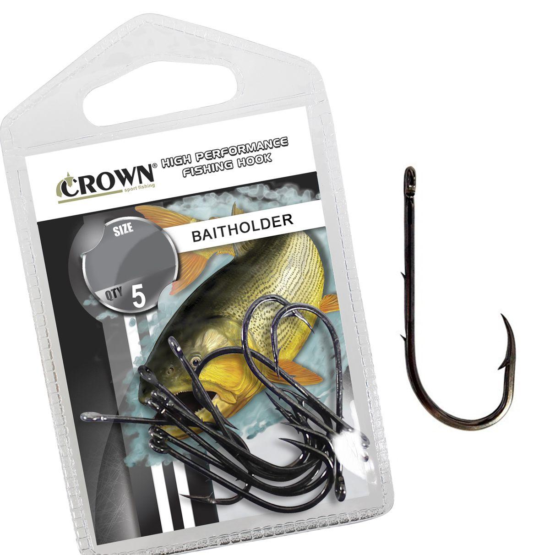 Anzol Crown Baitholder Black Nº 12/0 - 5 Peças