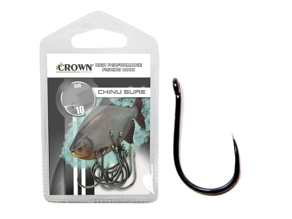 Anzol Crown Chinu Sure Black Nº 7 - 10 Peças