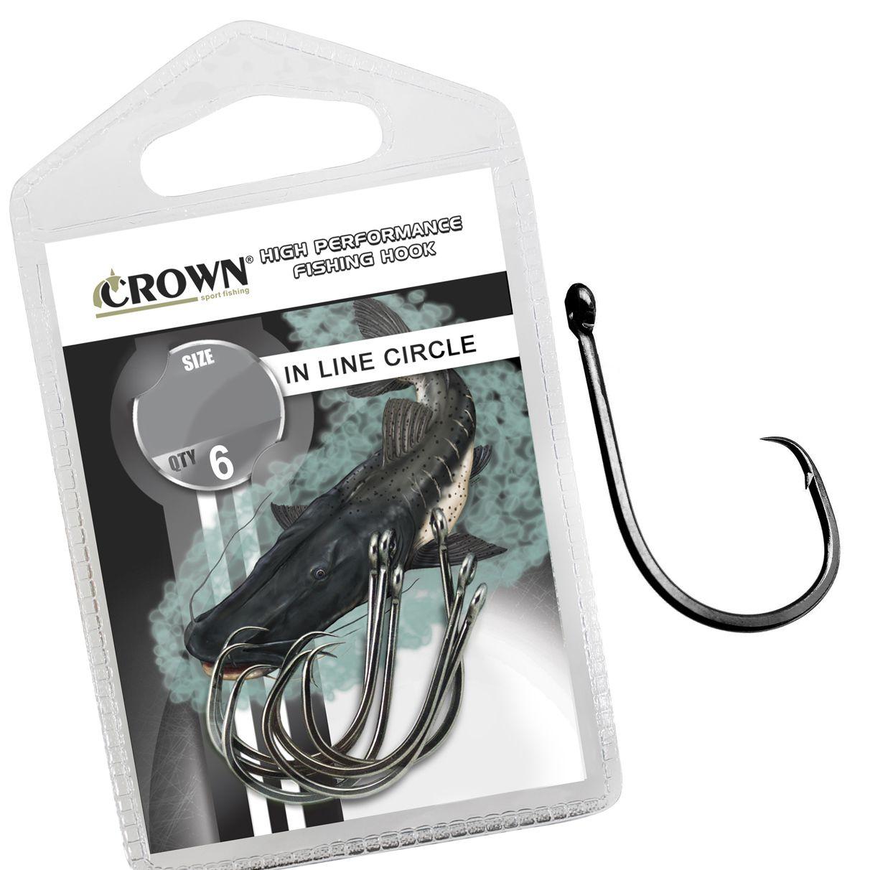 Anzol Crown in Line Circle Black Nº 1/0 - 6 Peças