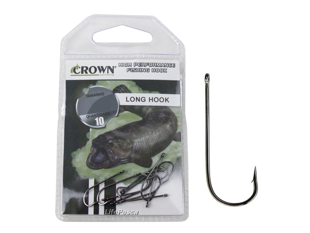 Anzol Crown Long Hook Black (Perna Longa) Nº 1/0 - 10 Peças