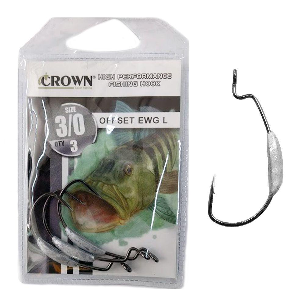 Anzol Crown Offset EWG Lastreado N° 3/0 - 3 Peças