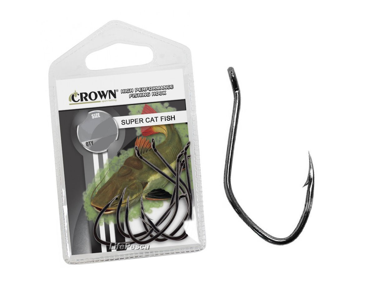 Anzol Crown Super Cat Fish Black Nº 1/0 - 5 Peças