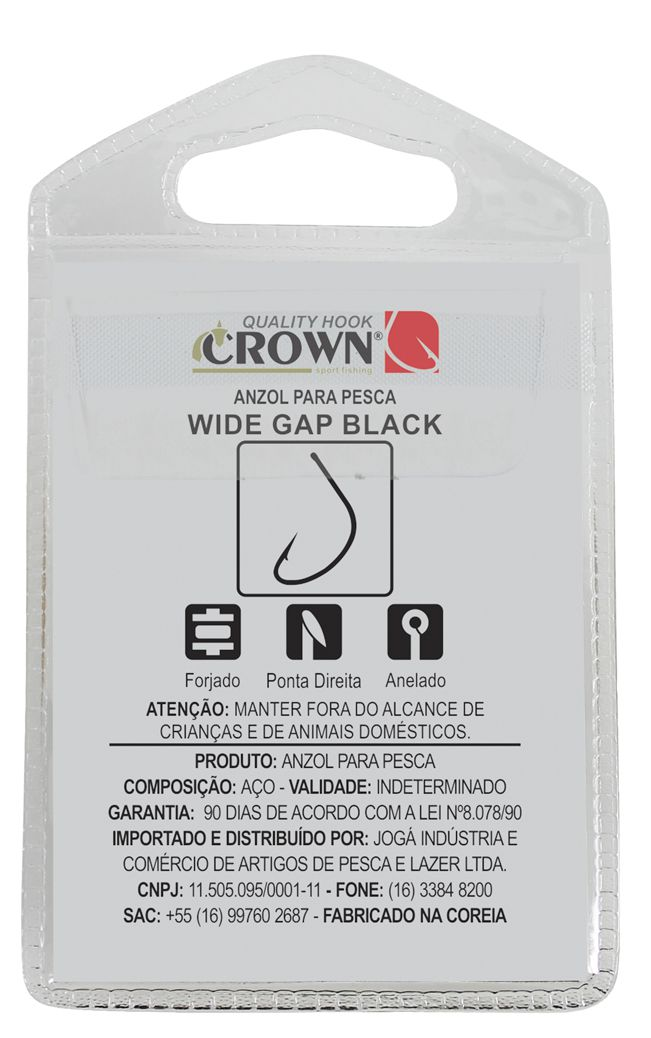 Anzol Crown Wide Gap Black Nº 1/0 - 10 Peças  - Life Pesca - Sua loja de Pesca, Camping e Lazer