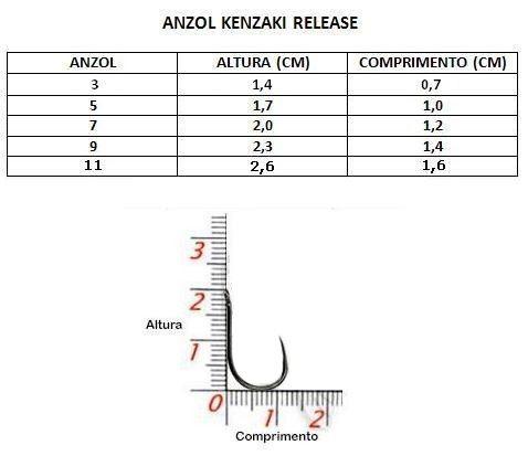 Anzol Kenzaki Release N° 11 - Anzol Sem Fisga - 10 Peças   - Life Pesca - Sua loja de Pesca, Camping e Lazer
