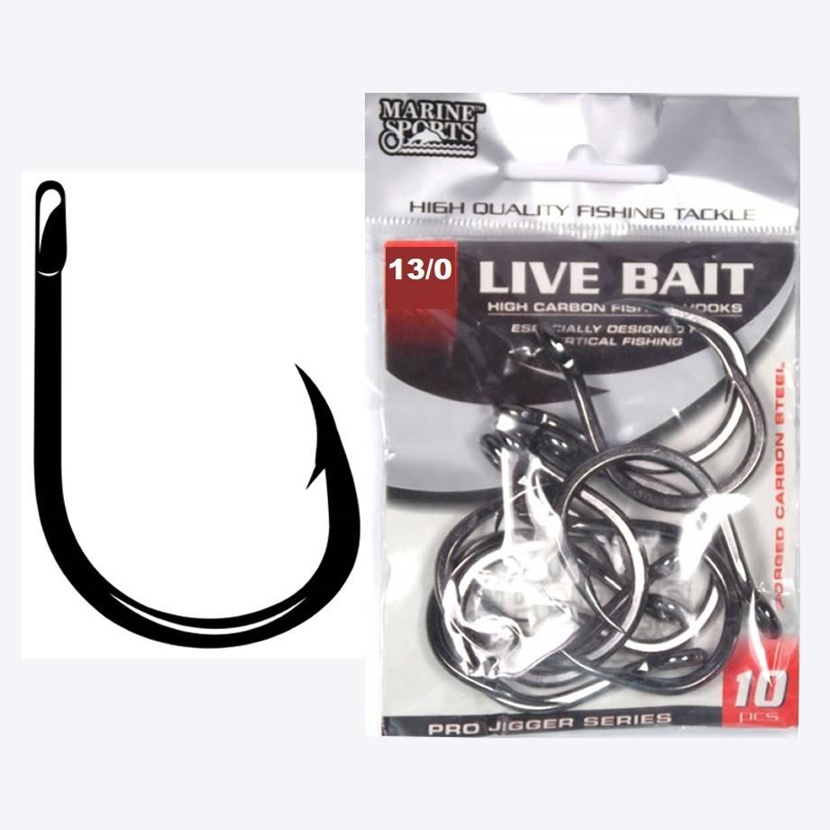 Anzol Live Bait Nº 13/0 Black Nickel - Marine Sports - 10 Peças  - Life Pesca - Sua loja de Pesca, Camping e Lazer