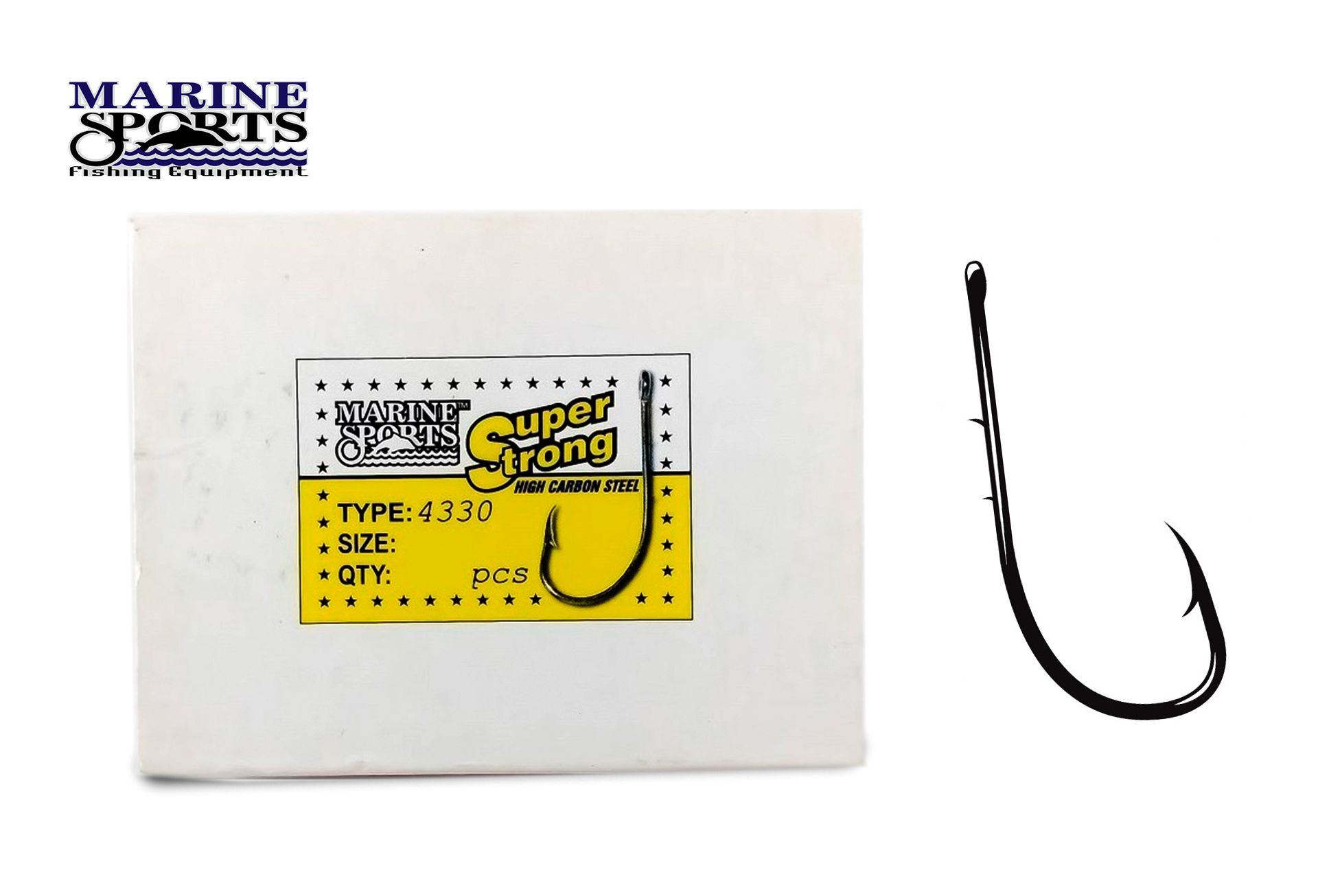 Anzol Marine Sports Super Strong 4330 N° 12/0 (8,6cm) C/ Farpas - 50 Peças
