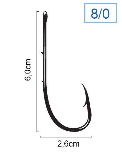 Anzol Marine Sports Super Strong 4330 N° 8/0 (6,0cm) C/ Farpas - 100 Peças  - Life Pesca - Sua loja de Pesca, Camping e Lazer
