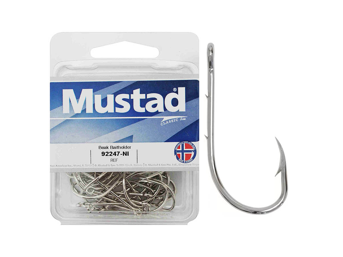 Anzol Norueguês Mustad Beak Baitholder 92247-Nickel Nº 1 - 50 Peças