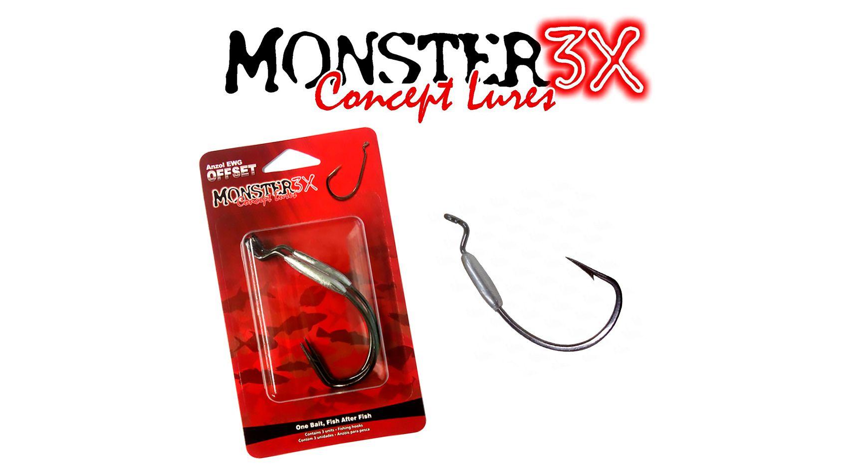 Anzol Off Set Lastreado EWG 3/0 - Monster 3X  - Life Pesca - Sua loja de Pesca, Camping e Lazer