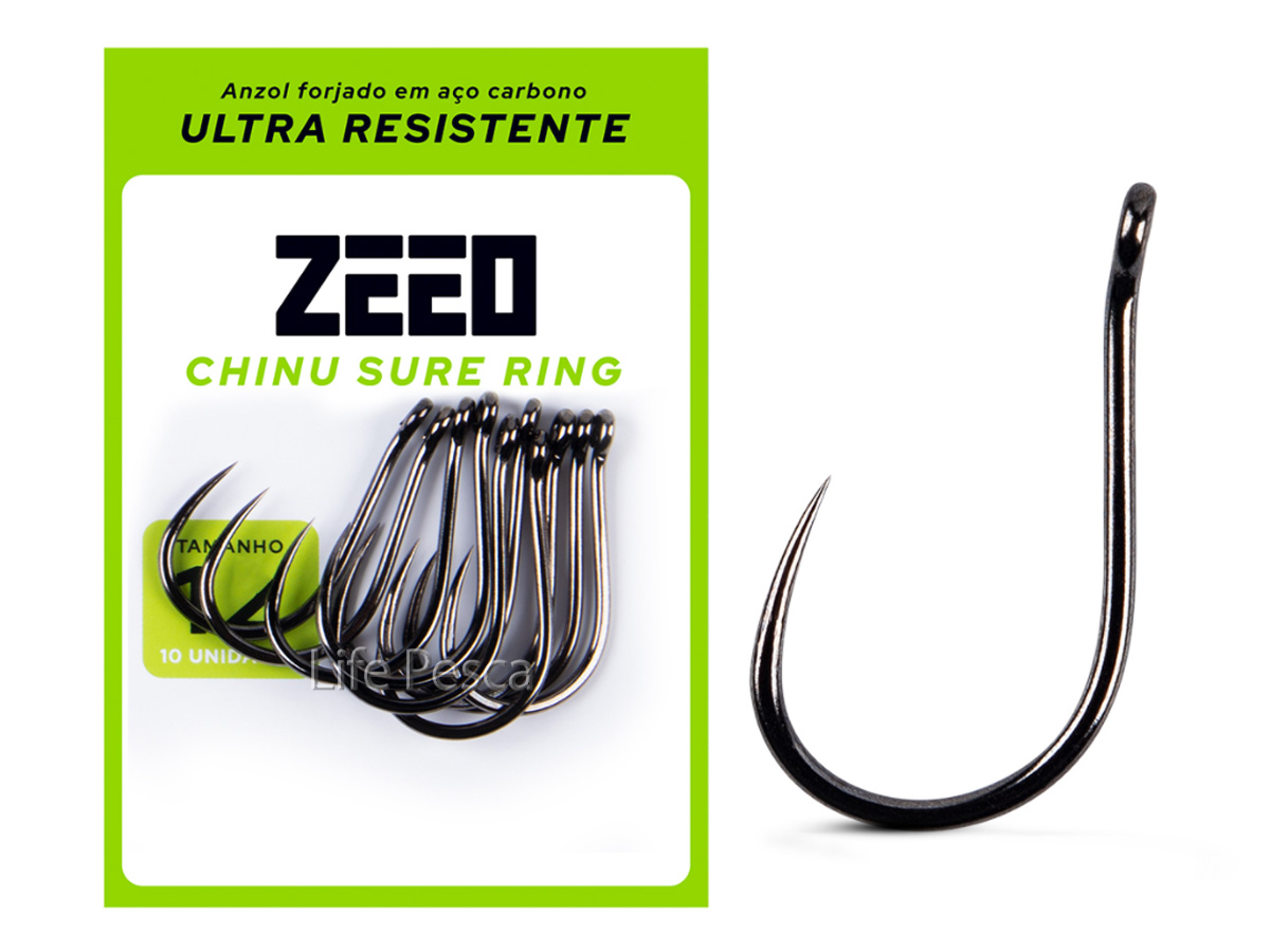 Anzol ZEEO Chinu Sure Ring Black Nº 7 - 10 Peças