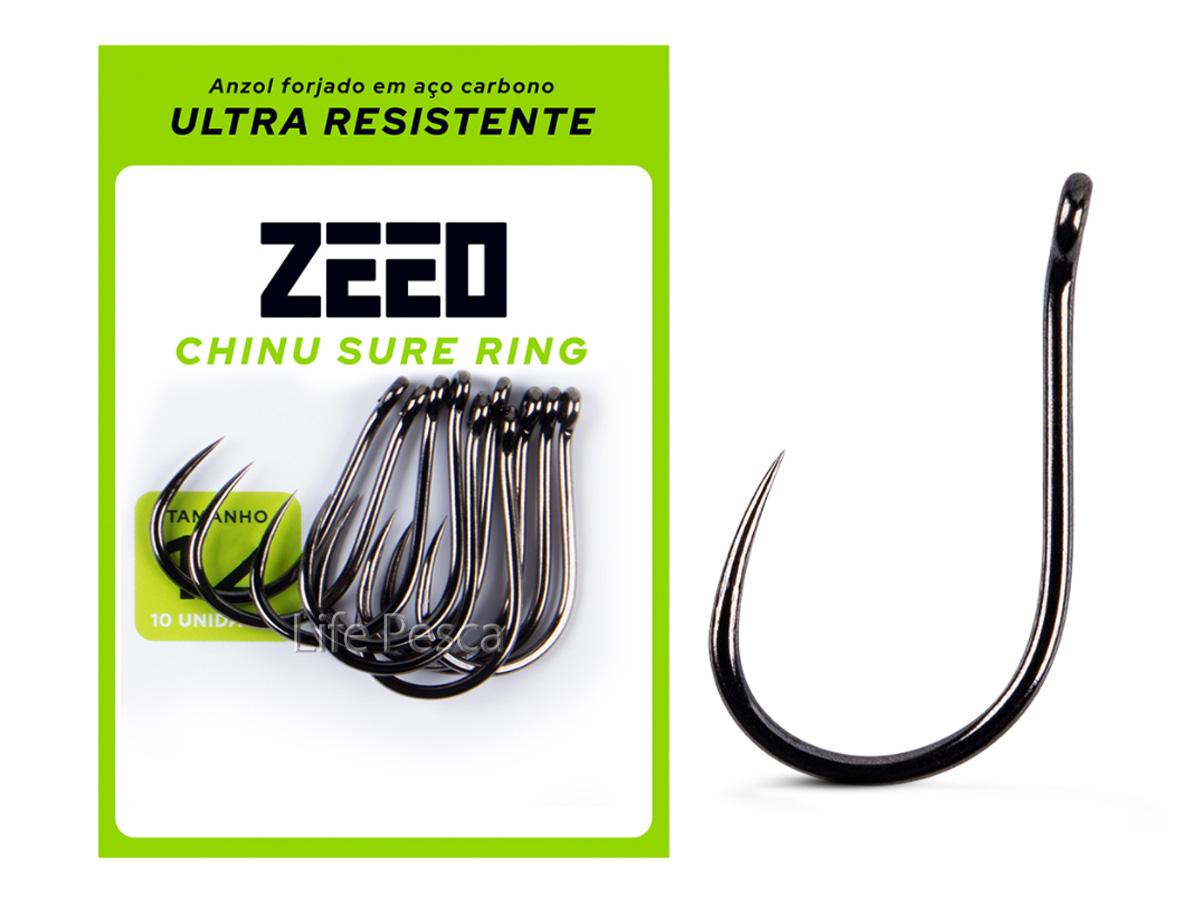 Anzol ZEEO Chinu Sure Ring Black Nº 8 - 10 Peças