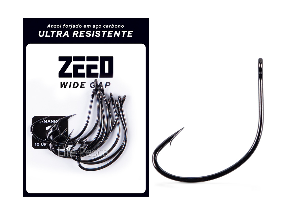 Anzol ZEEO Wide Gap Black Nº 2/0 - 10 Peças