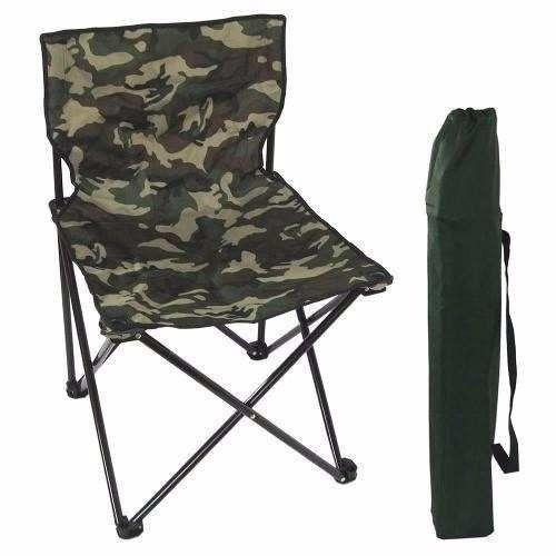 Cadeira Para Pescador Dobrável Xingu - Camuflada e Azul