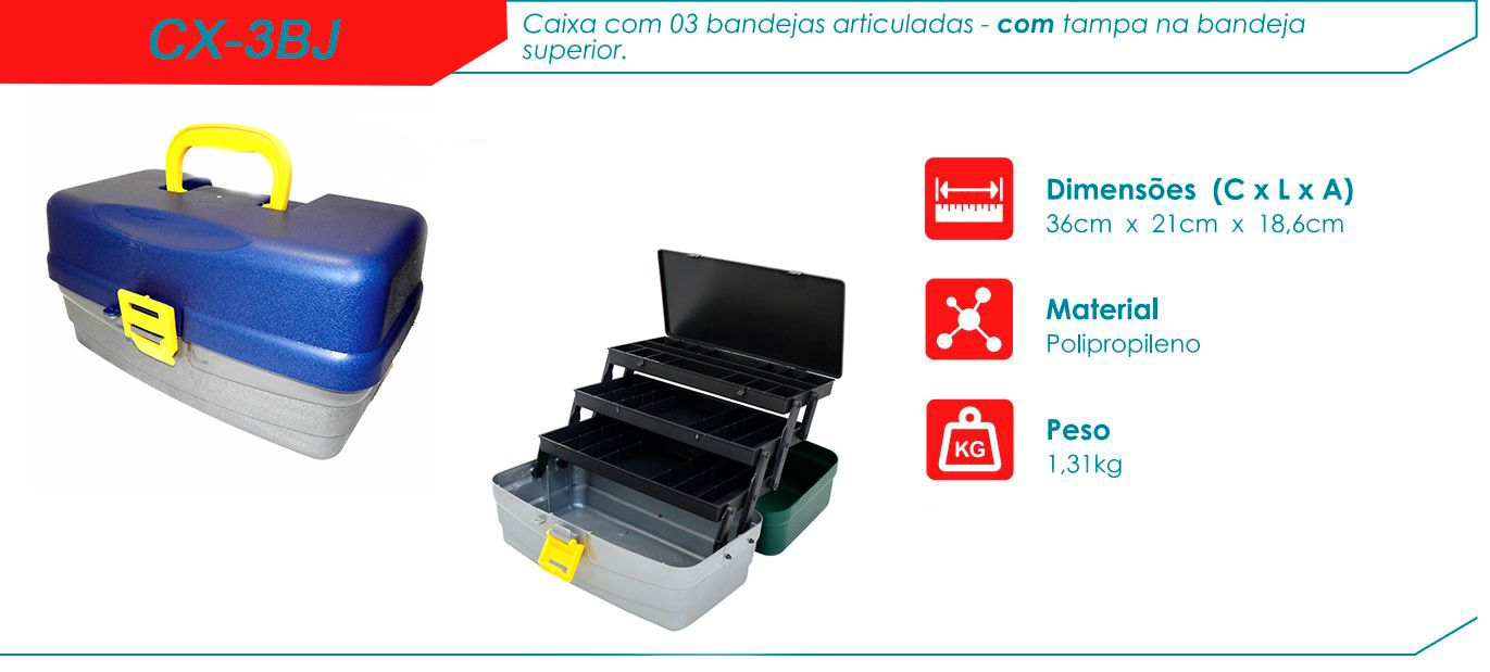 Caixa De Pesca Hi CX-3BJ - 3 Bandejas  - Life Pesca - Sua loja de Pesca, Camping e Lazer