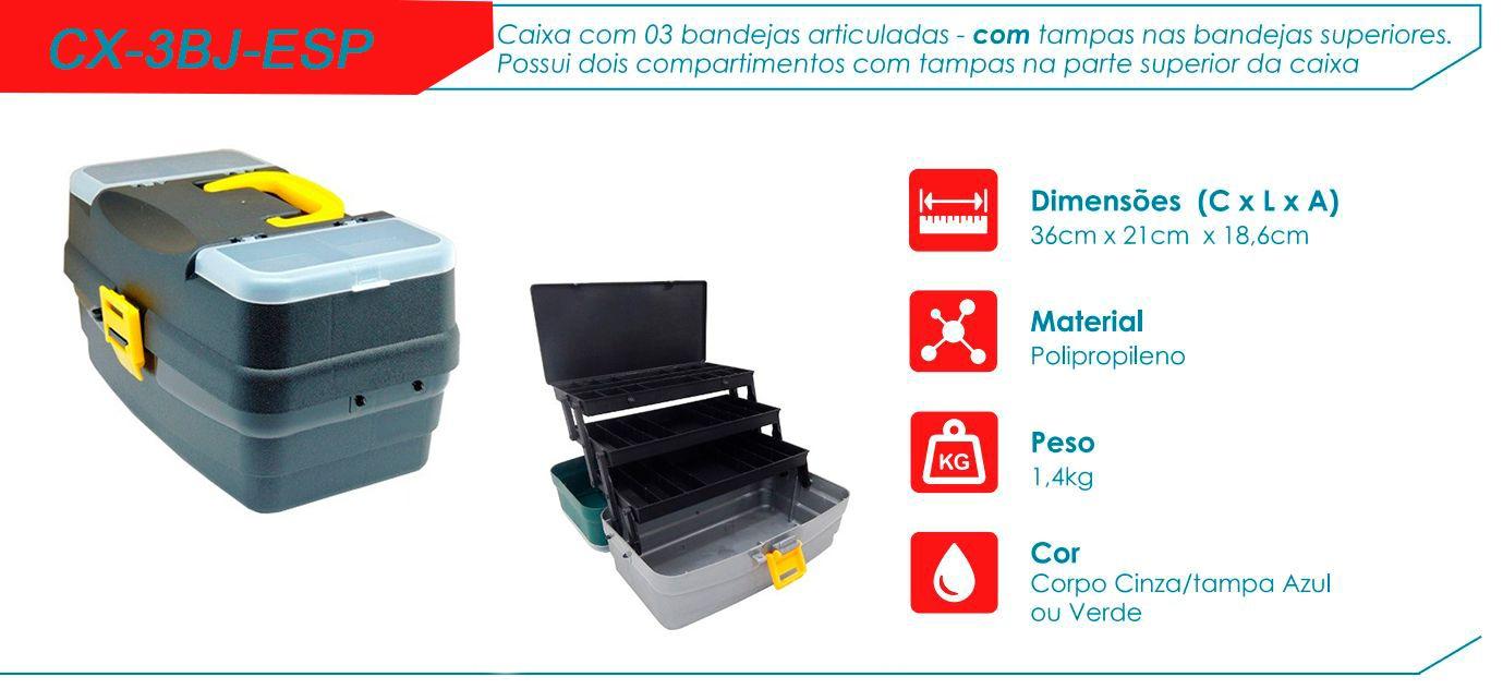 Caixa De Pesca Hi CX-3BJ-ESP 3 Bandejas Especial  - Life Pesca - Sua loja de Pesca, Camping e Lazer