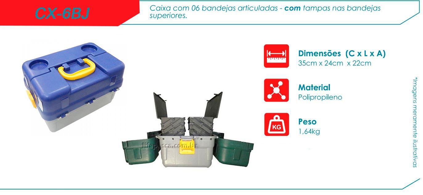Caixa De Pesca Hi - CX-6BJ 6 Bandejas Articuladas - Várias Cores  - Life Pesca - Sua loja de Pesca, Camping e Lazer