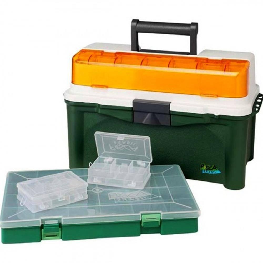 Caixa De Pesca Pesca Brasil Box 007 - Azul e Verde  - Life Pesca - Sua loja de Pesca, Camping e Lazer
