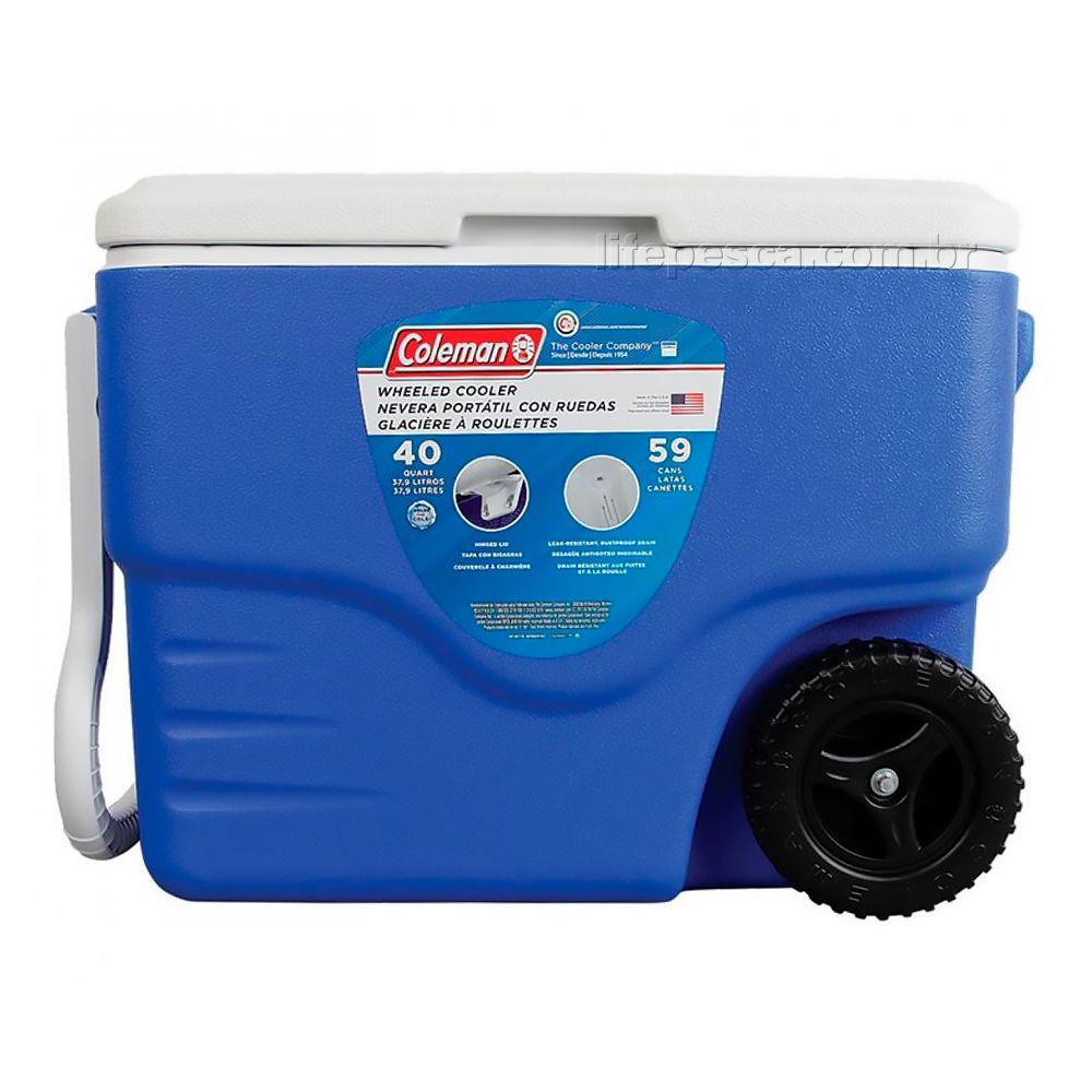 Caixa Térmica Coleman 40Qt 38 Litros com Rodas - Azul Royal