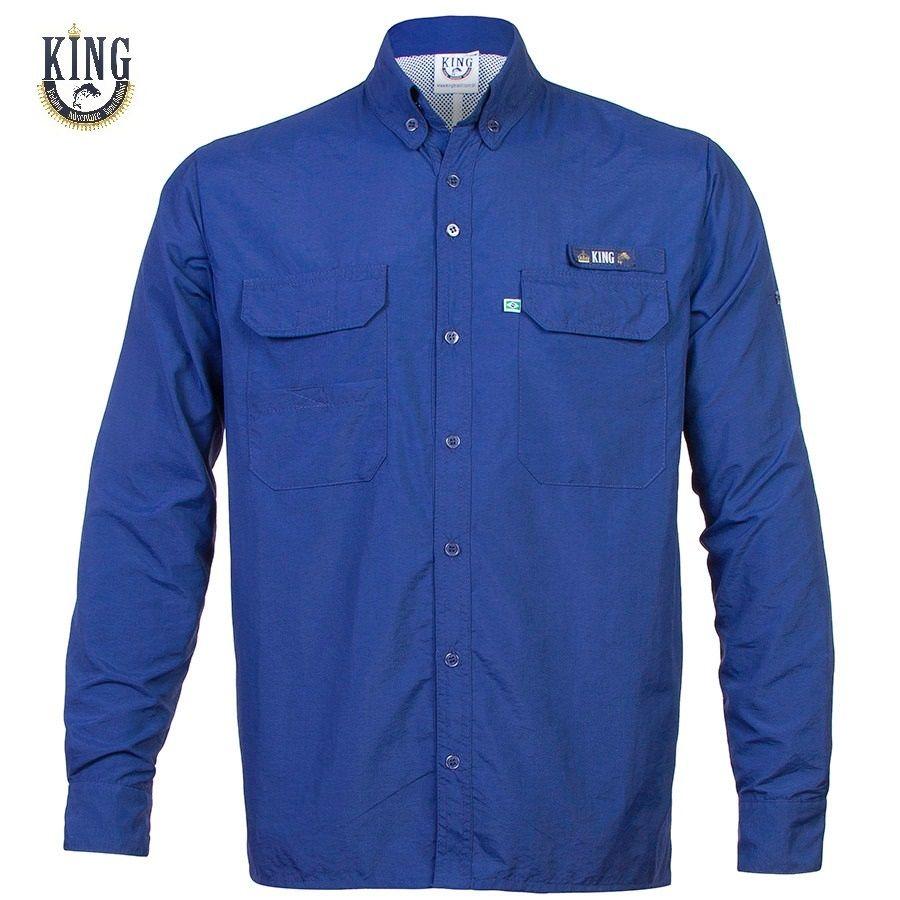 Camisa de Pesca King Brasil Antares Proteção Solar - Azul Marinho