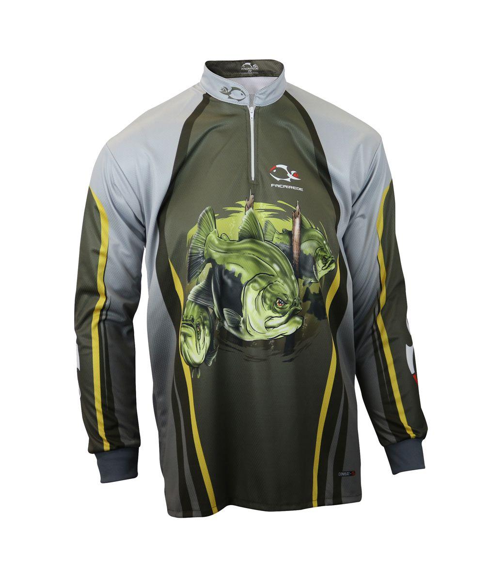 Camiseta de Pesca Proteção Solar Faca na Rede Combat S - Tambaqui Novo