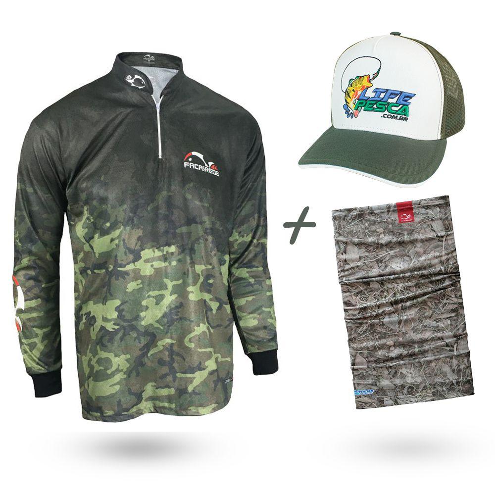 Camiseta de Pesca Faca na Rede Combat S Camuflado 2020 + Bandana + Boné