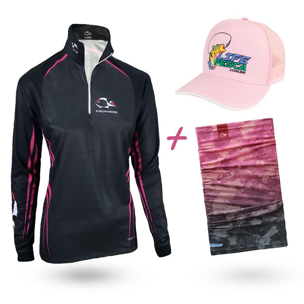 Camiseta de Pesca Faca na Rede Combat S Girl Pink And Black 2020 + Bandana + Boné