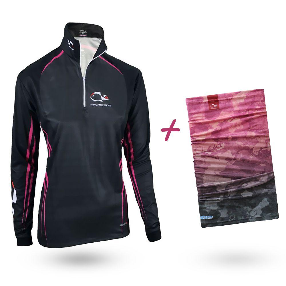 Camiseta de Pesca Faca na Rede Combat S Girl Pink And Black 2020 + Bandana Tb19 Pink